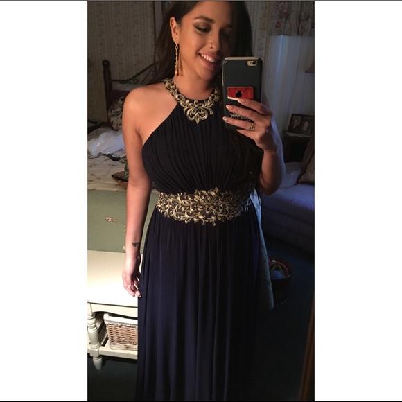 Cachet Dresses | Navy Blue And Gold Prom Dress | Poshmark